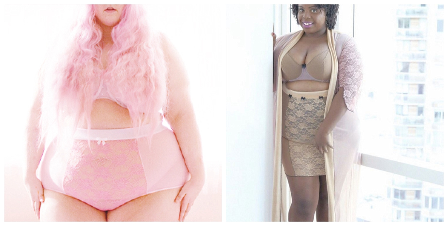 Plus size bloggers wearing Impish Lee custom bras, underwear and loungewear